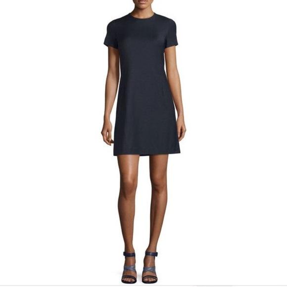 55d44a3457 Theory wool blend navy cap sleeve shift dress. M_5b64a9415098a05e00eb5c8b